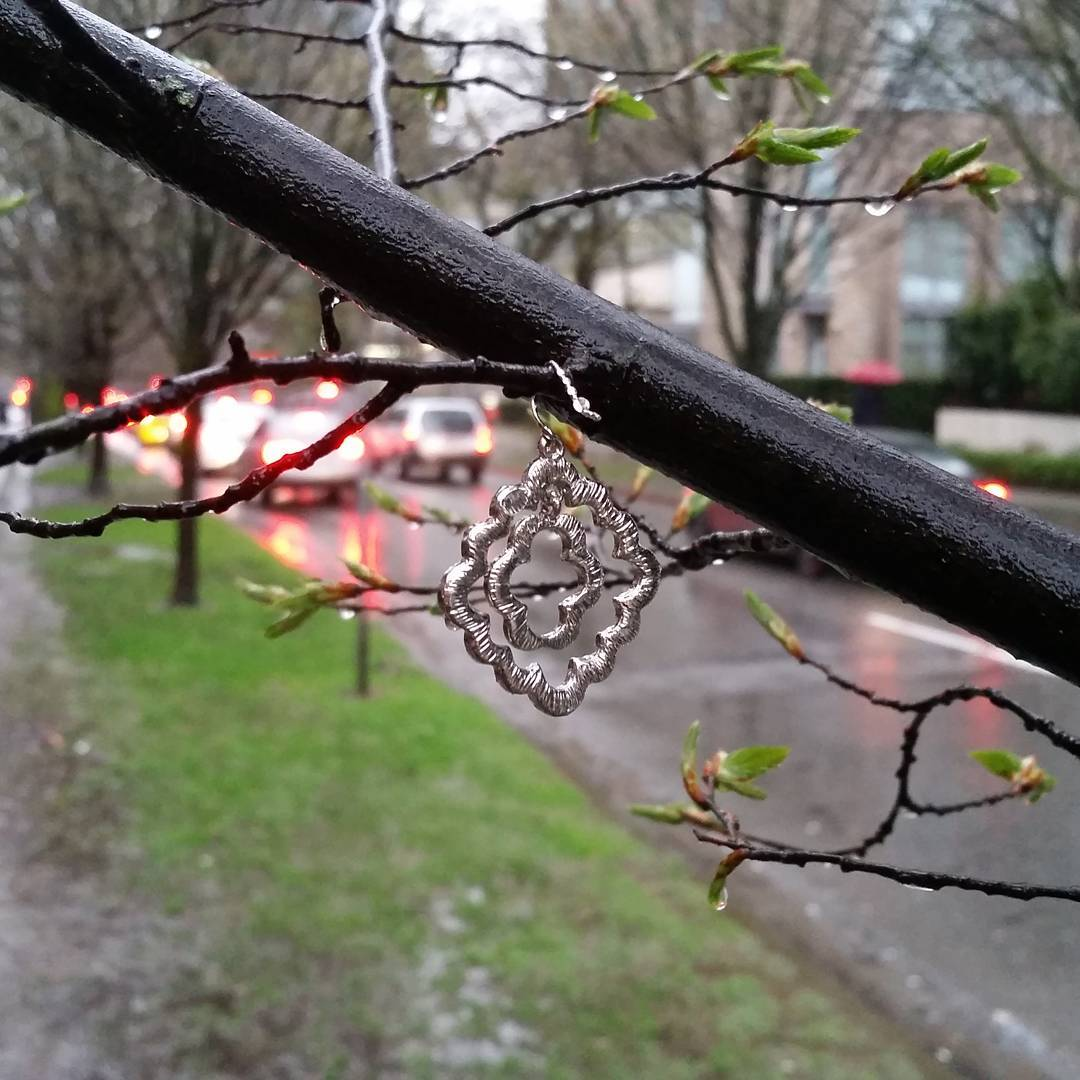 A little silver trinket hanging from a branch with traffic in the background