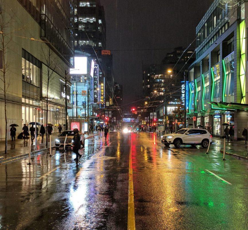 Robson Street at night