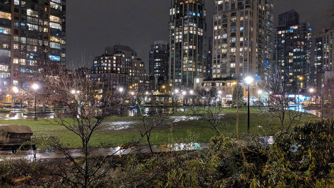 Emery Barnes Park at night