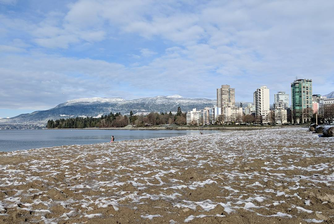 English Bay Beach with a bit of snow