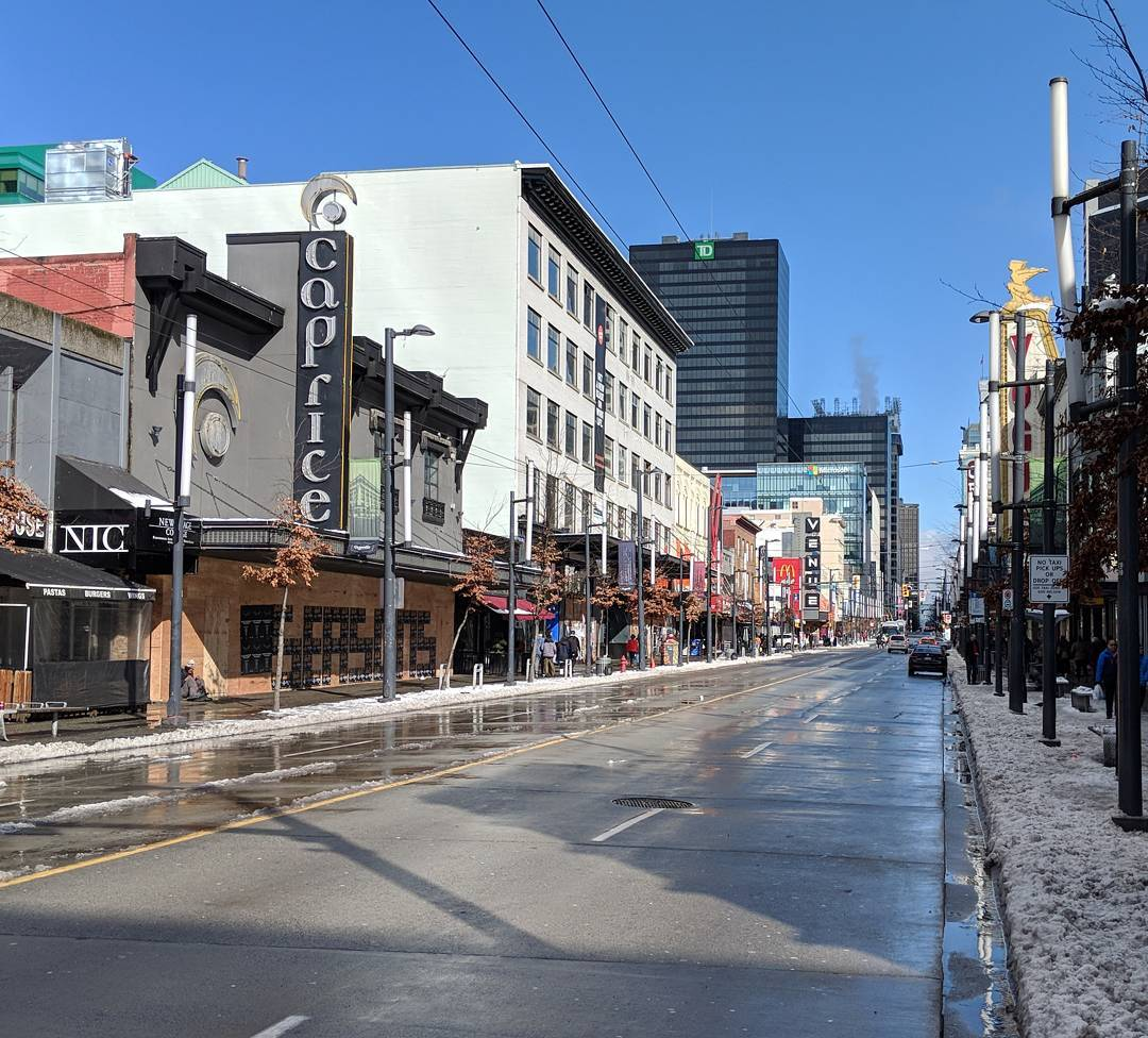 Granville Street, off-centre perspective, clear blue sky