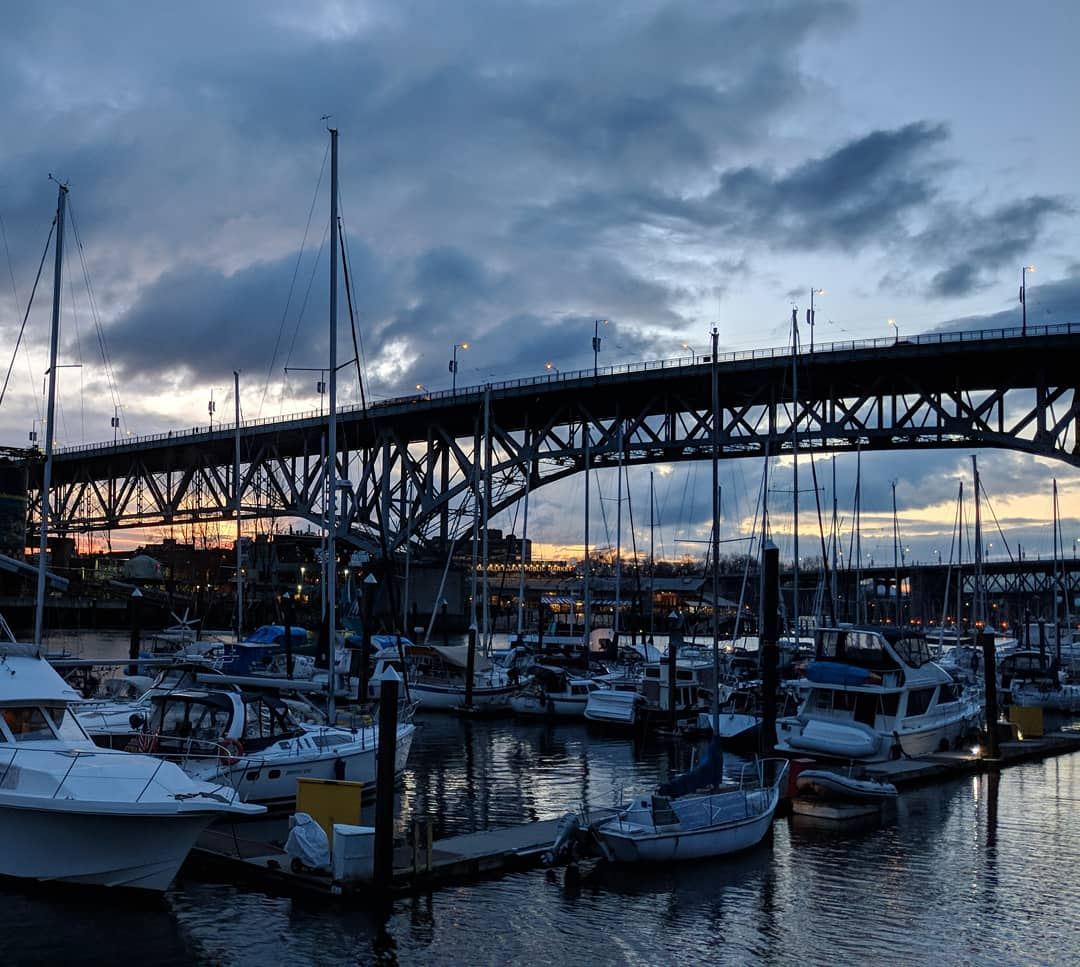 Granville Bridge and boats at sunset
