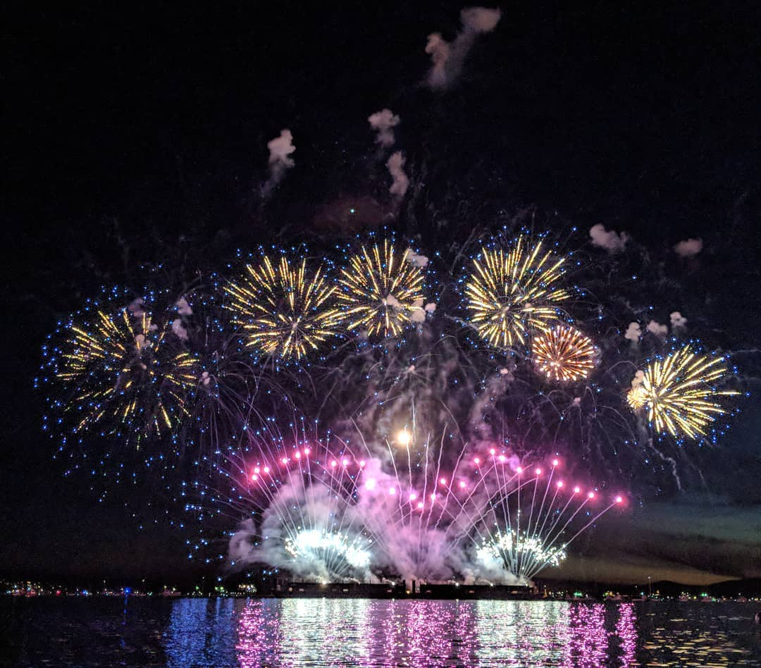 Violet and gold fireworks