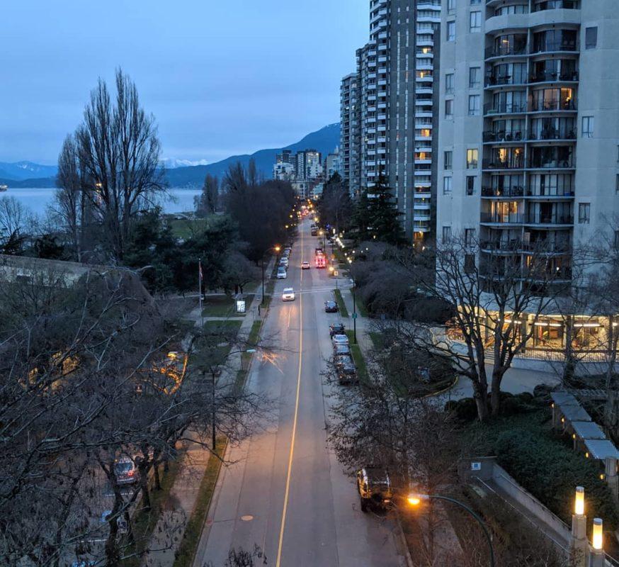 Overlooking Beach Avenue, grey morning