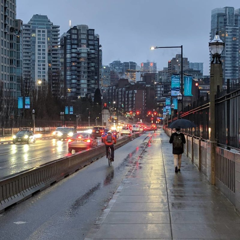 Commuters on a rainy morning
