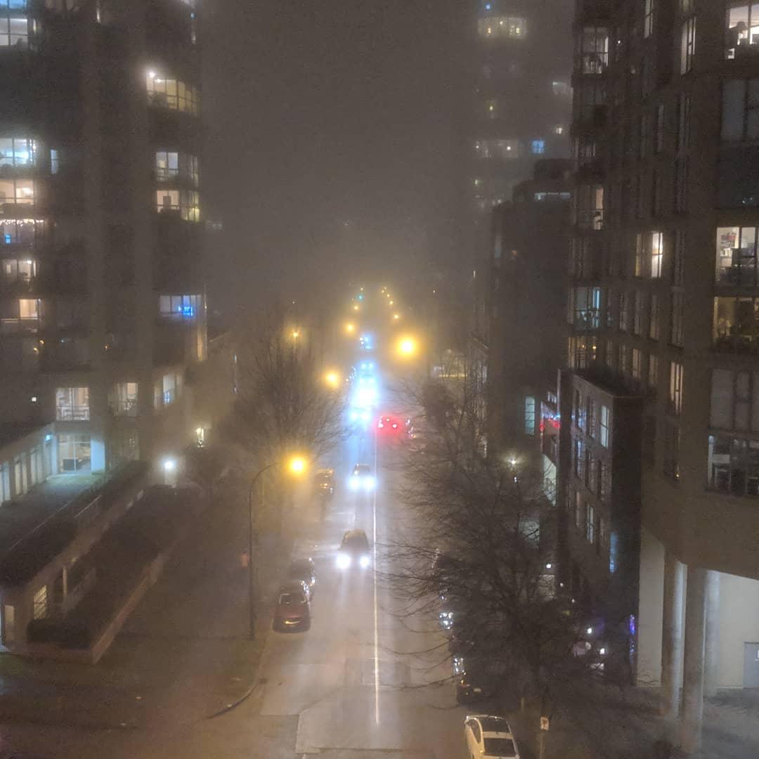 Beach Avenue in the fog