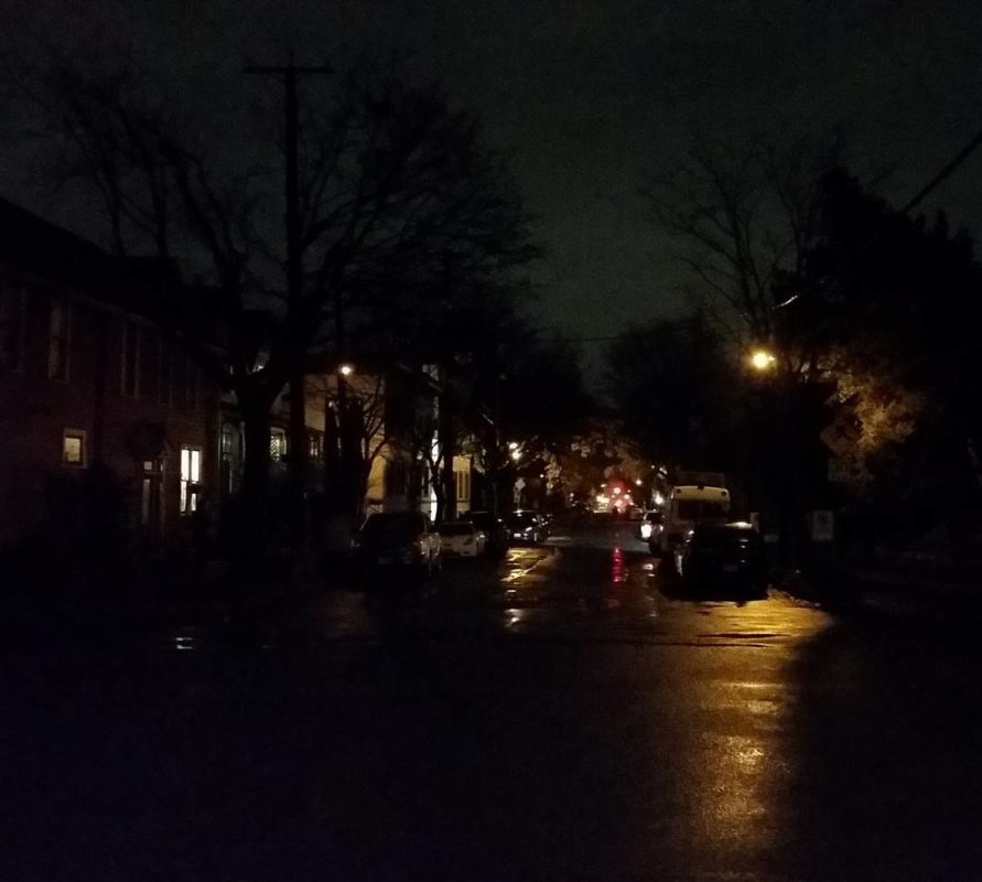 A little wet street at night