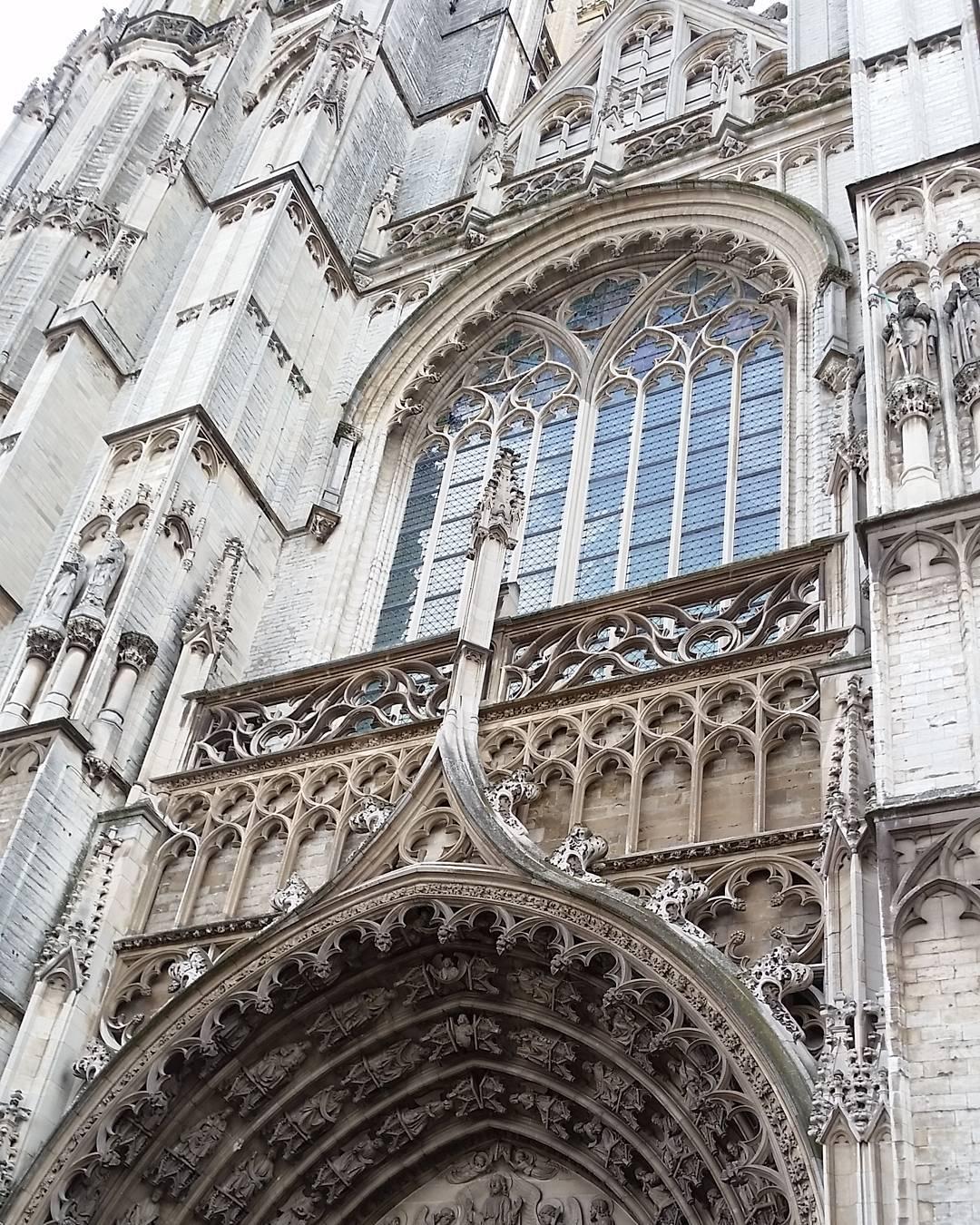 Elaborate sculptures above the cathedral door
