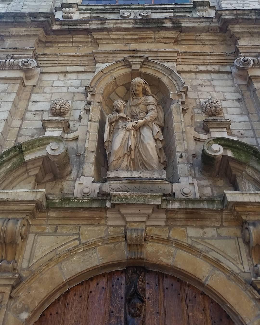A statue over a chapel door