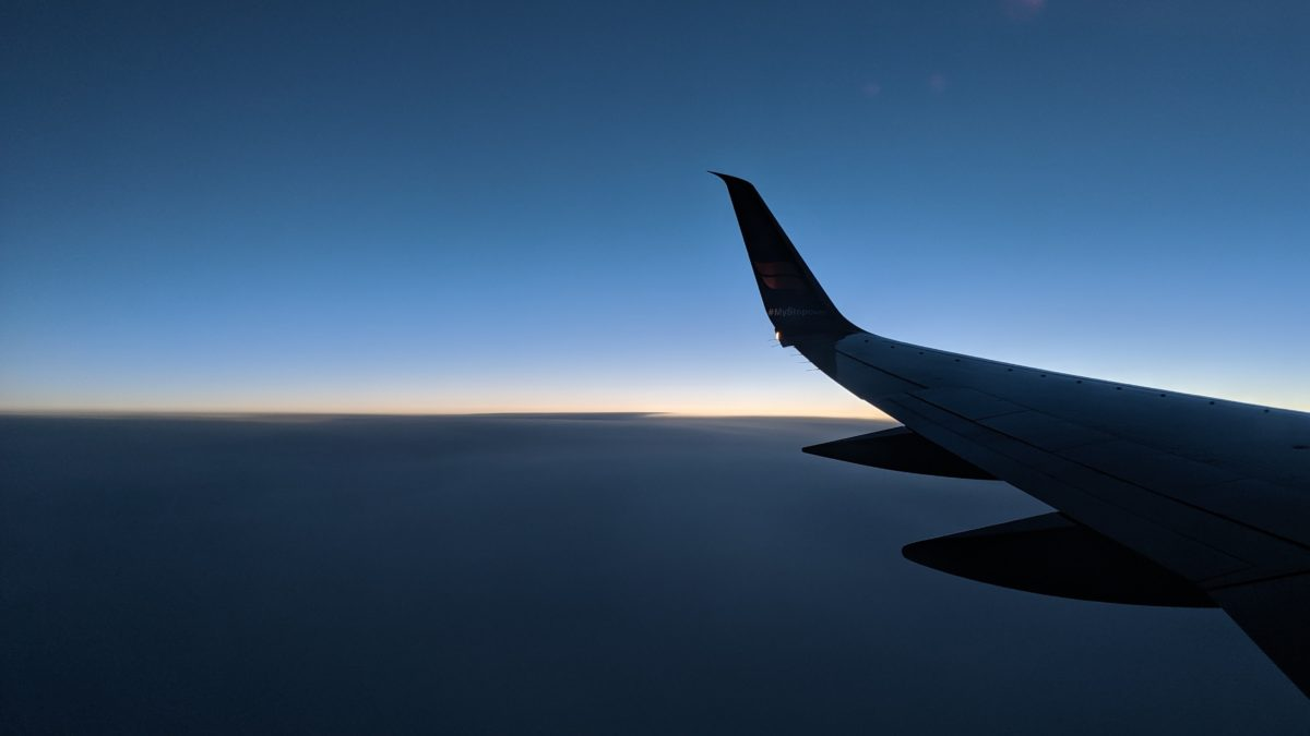 A sliver of daylight from the plane