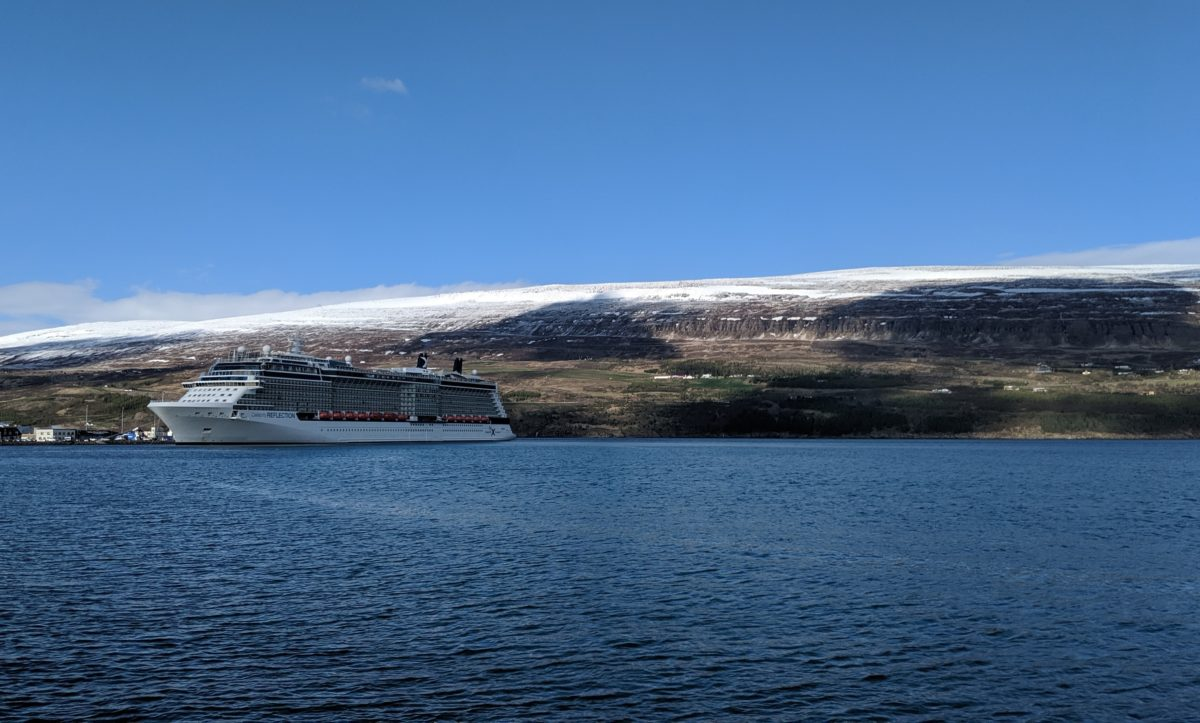 cruise ship and fjord