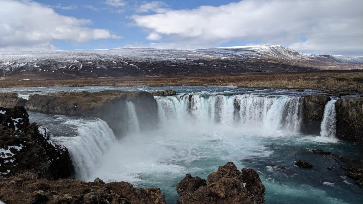 half circle waterfall