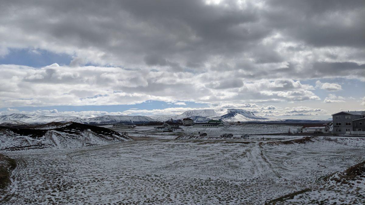 Snow-speckled landscape