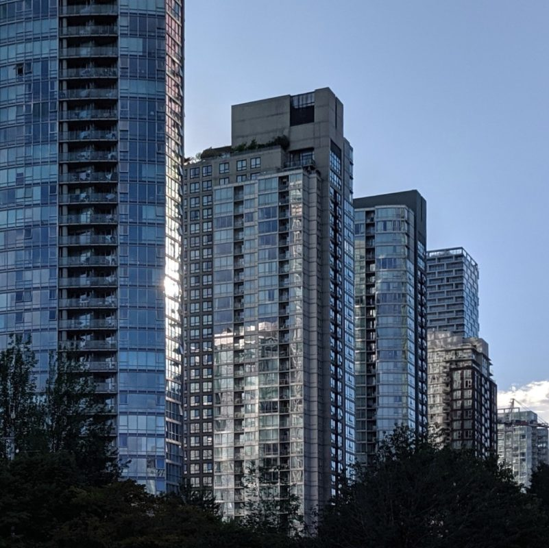 silver and blue towers