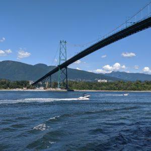 bridge and speedboat