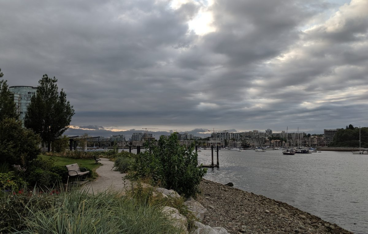 Ferry dock and clouds