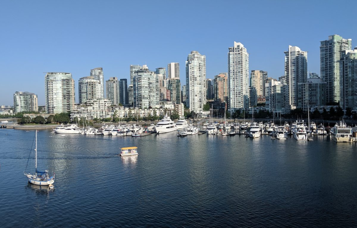 Yaletown towers and little boats