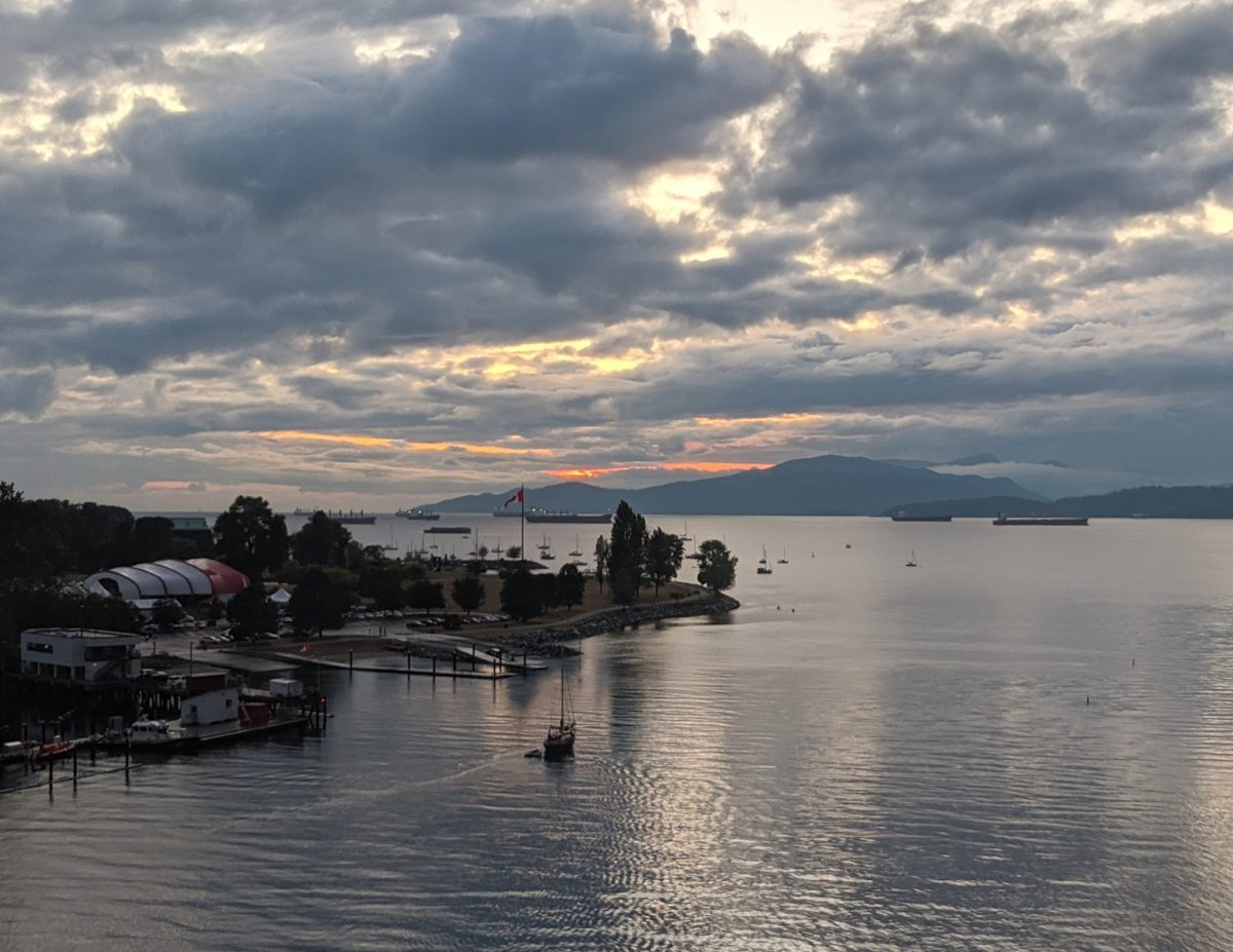 cloudy sunset over English Bay