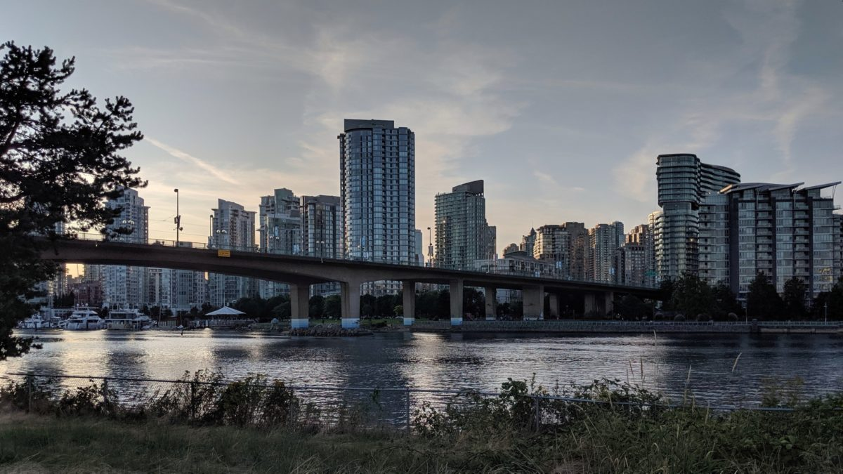 Cambie Bridge and downtown, fading light