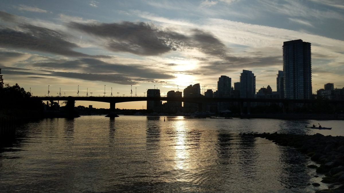 Cambie Bridge and downtown at sunset