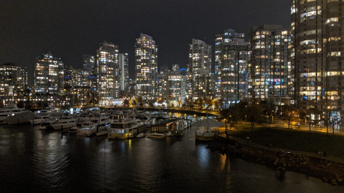 Yaletown towers at night