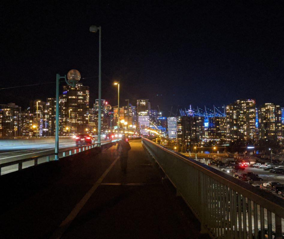 Cambie bridge at night