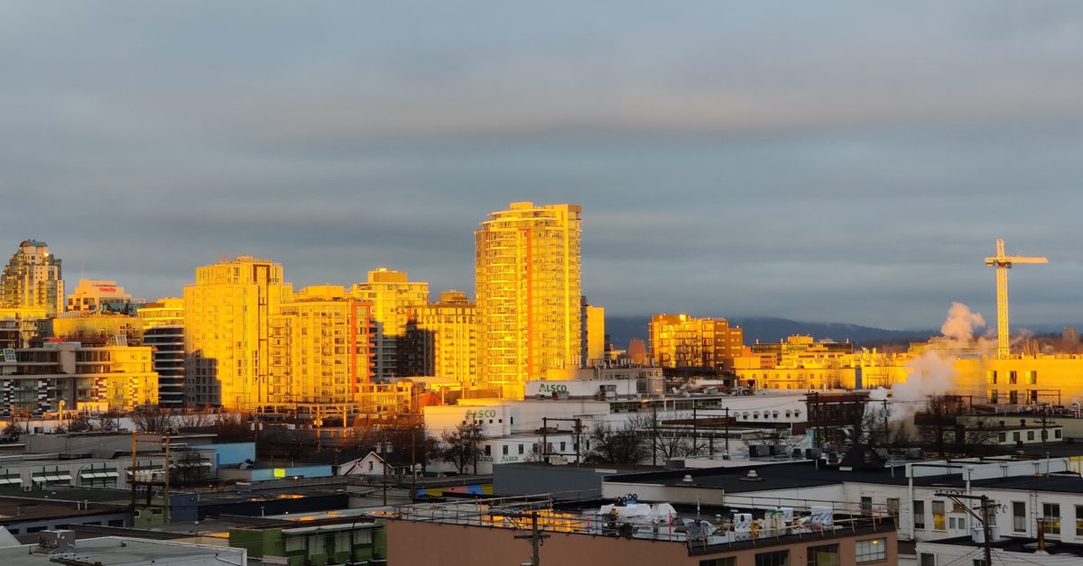 Buildings in sunset light