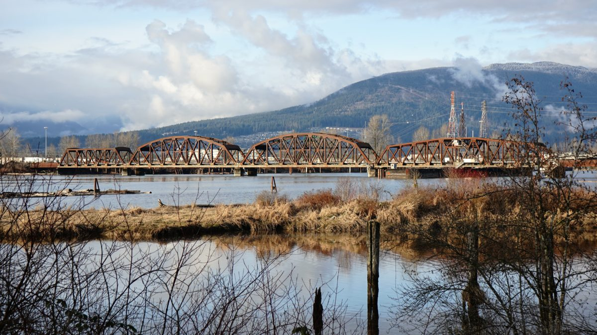 Pitt River and rail bridge