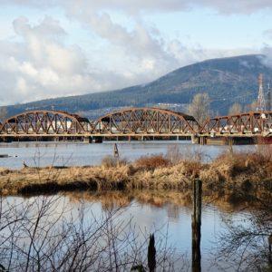 Pitt River and rail bridge