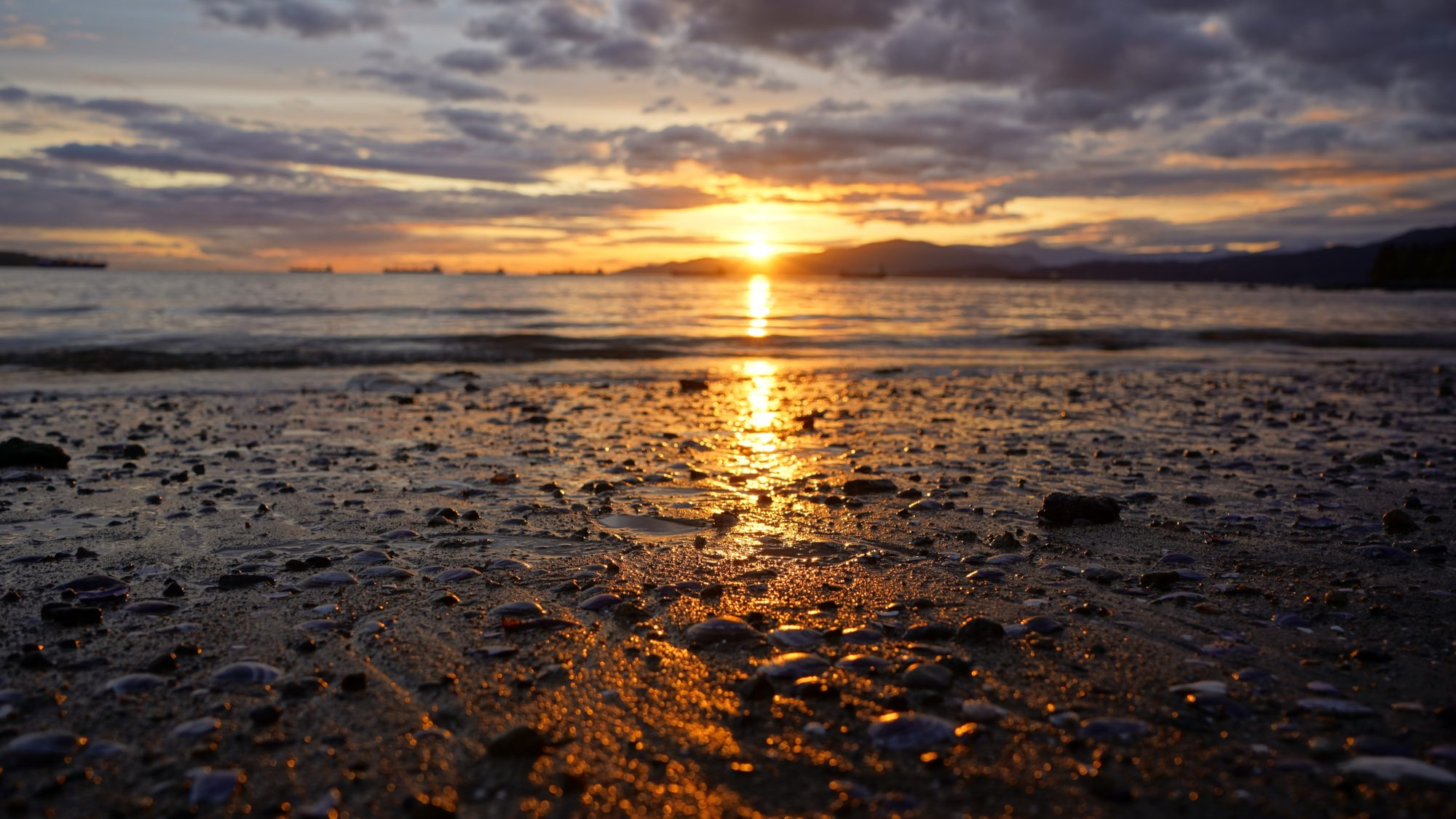 Sunset reflected on low tide beach
