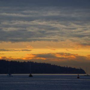 Boats and orange sky