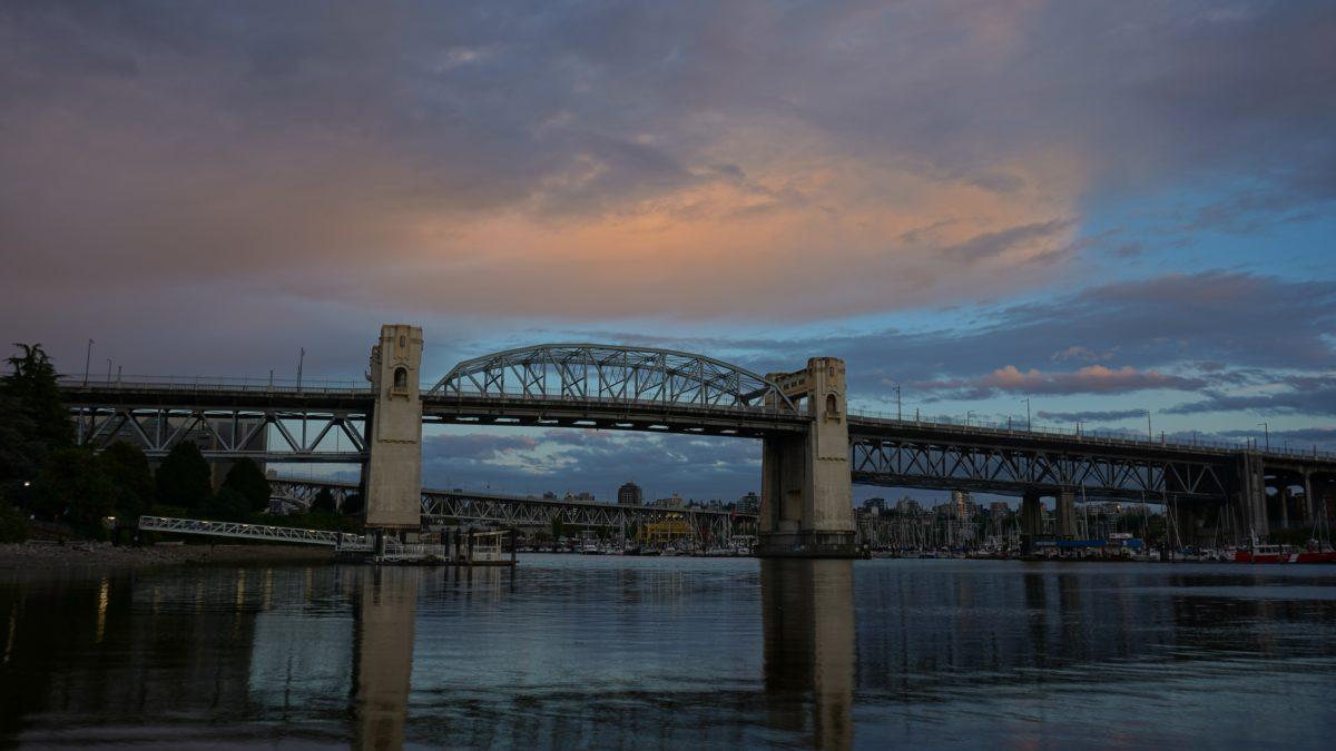 Burrard Bridge in blue