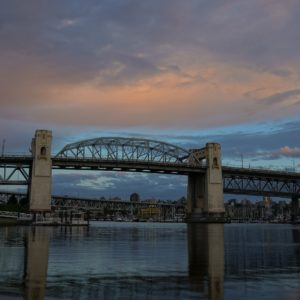 Burrard Bridge in blue