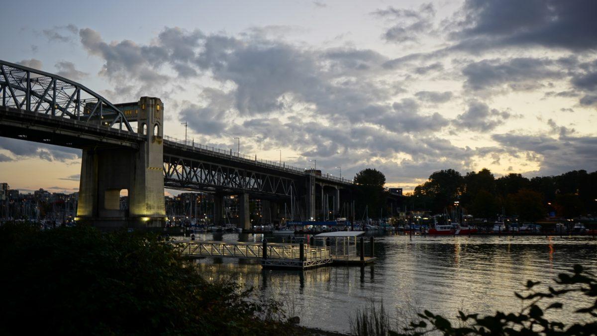 Burrard Bridge in gold light