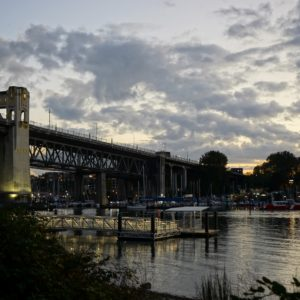 Burrard Bridge in gold light