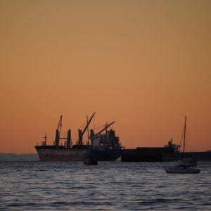 Boats on orange
