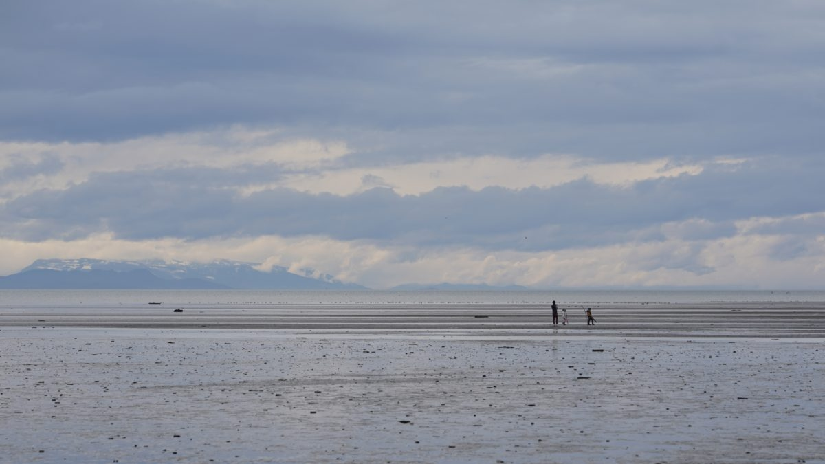 People at low tide