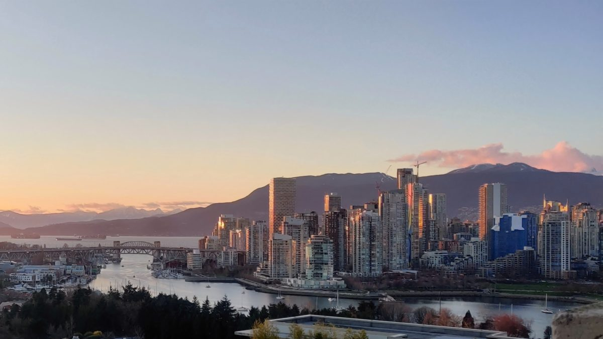 False Creek and Vancouver, sunset