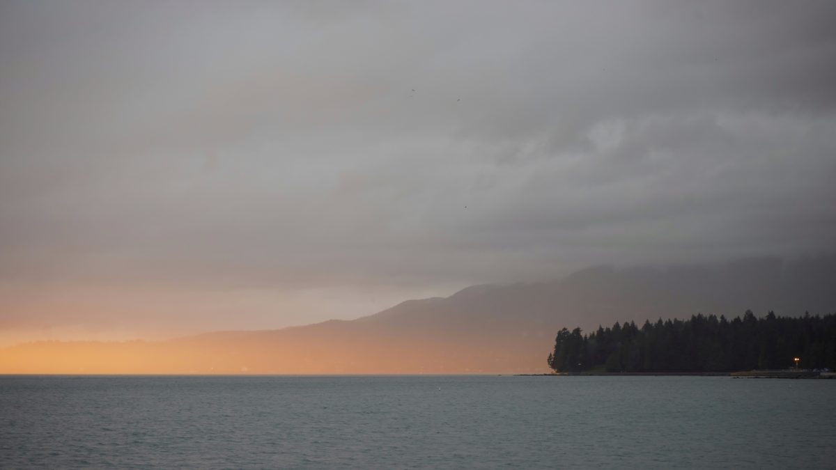 sunset on Stanley Park